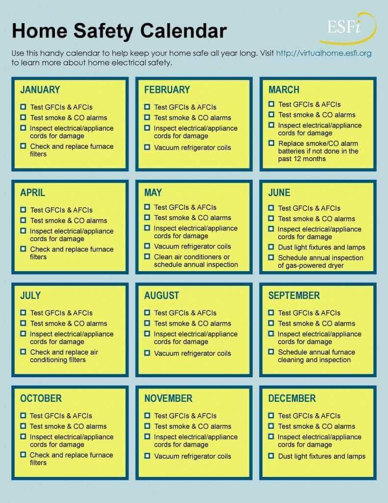 electrical home safety calendar