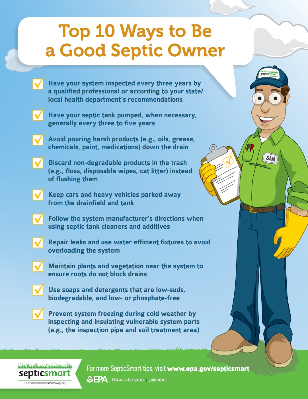 10 tips for septic tank owners - septic smart week - EPA water
