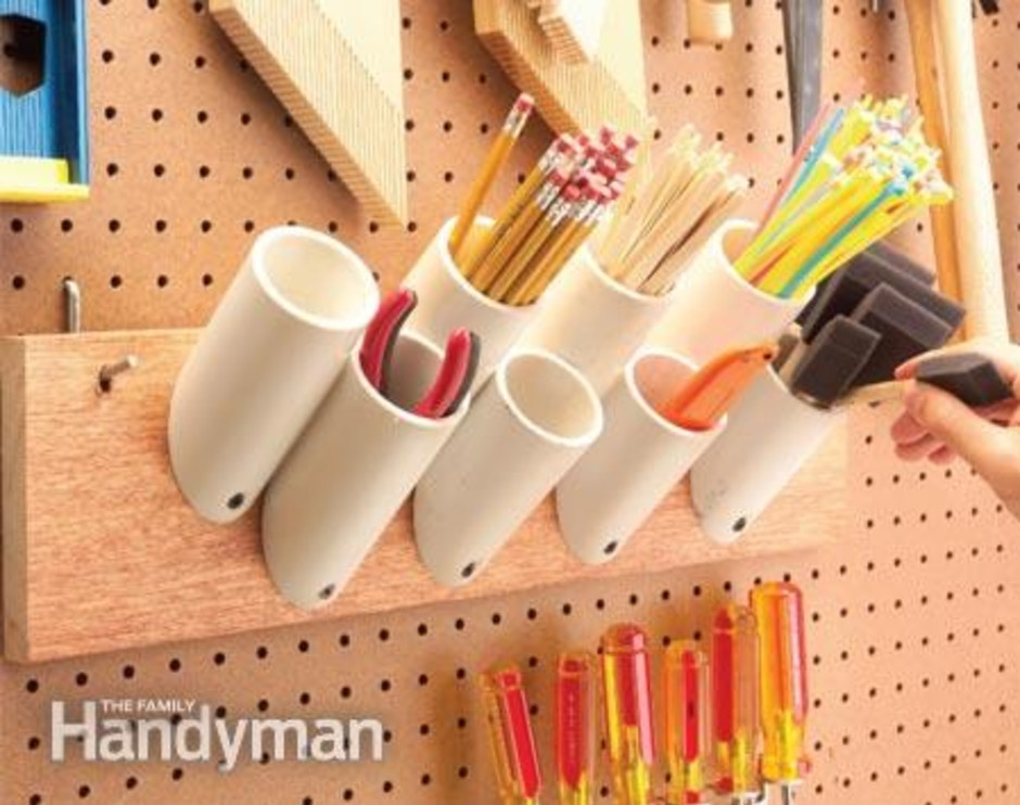 use pvc pipes to organize office supplies