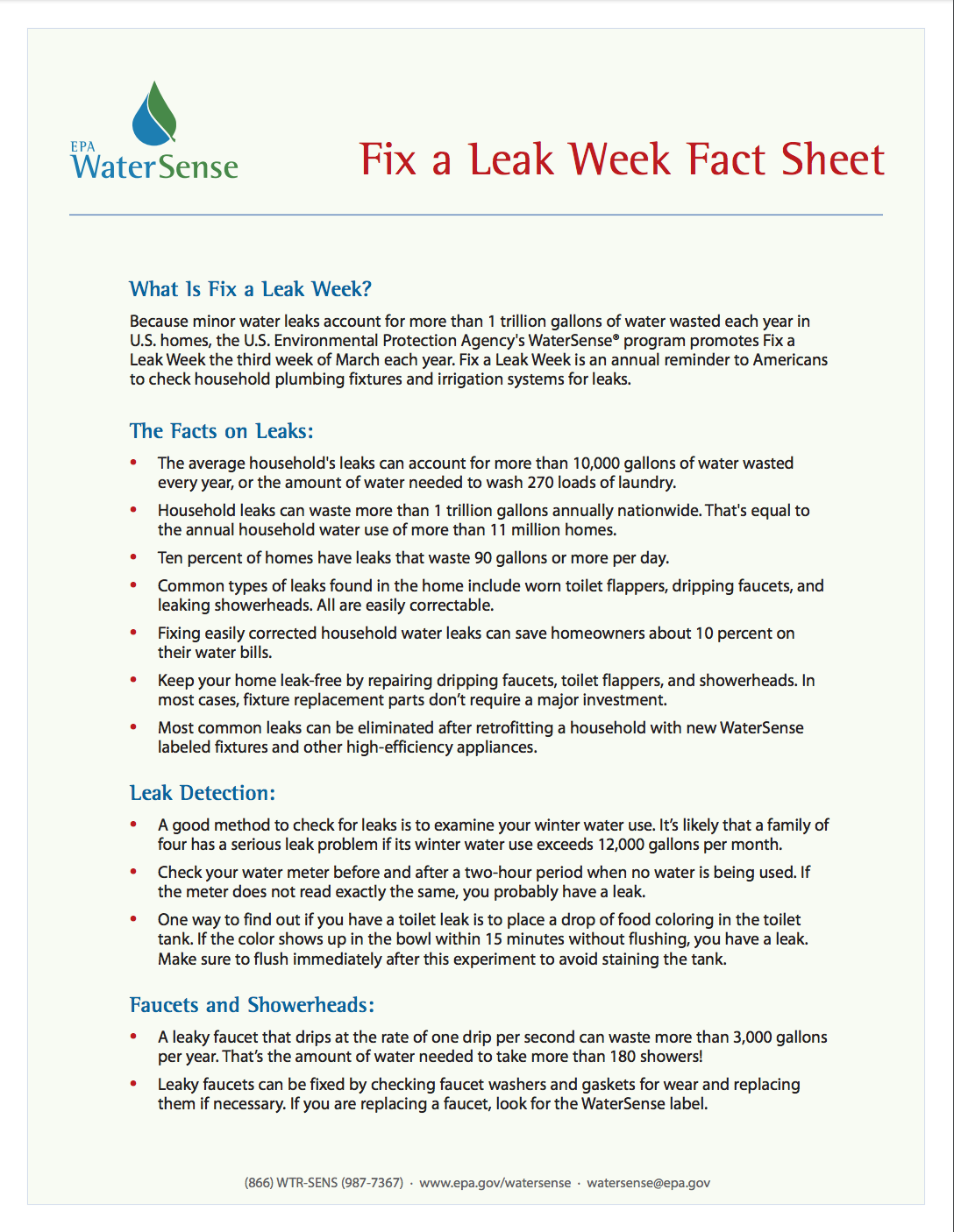 leak detection and facts on leaks