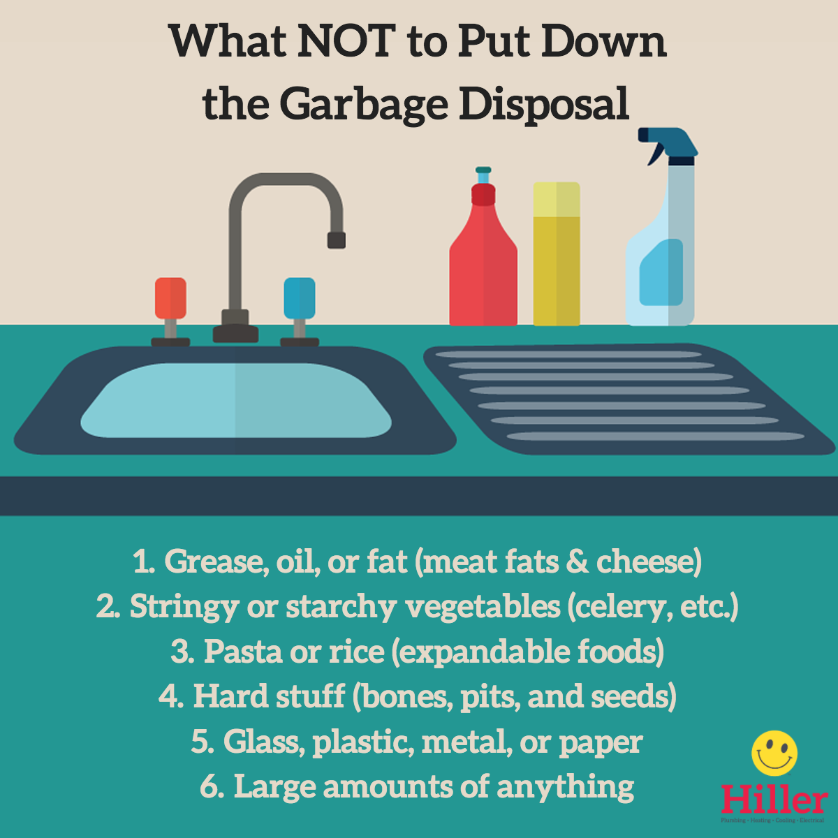 list of things that should not go down garbage disposal