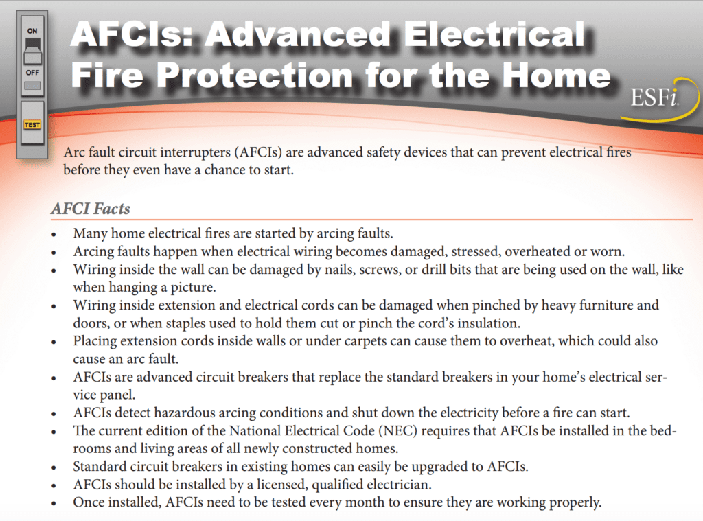 afci - arc fault interrupter facts