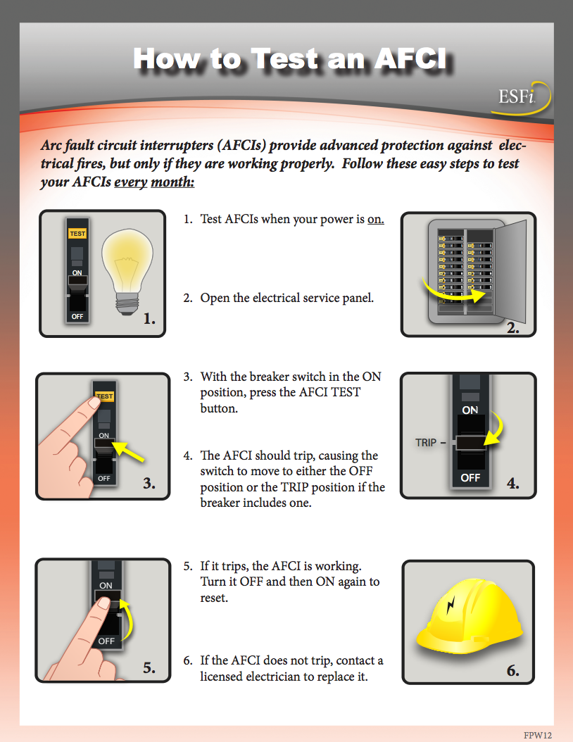 how to test arc fault circuit interrupter AFCI