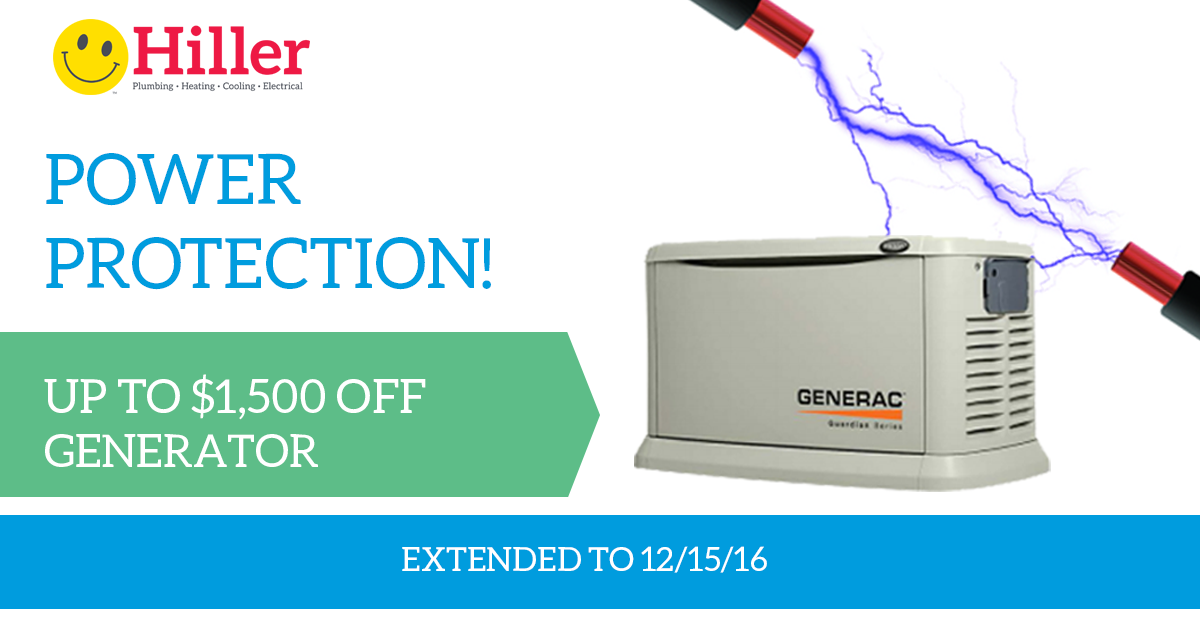 $1,500 OFF New Backup Generator - Hiller Electrical