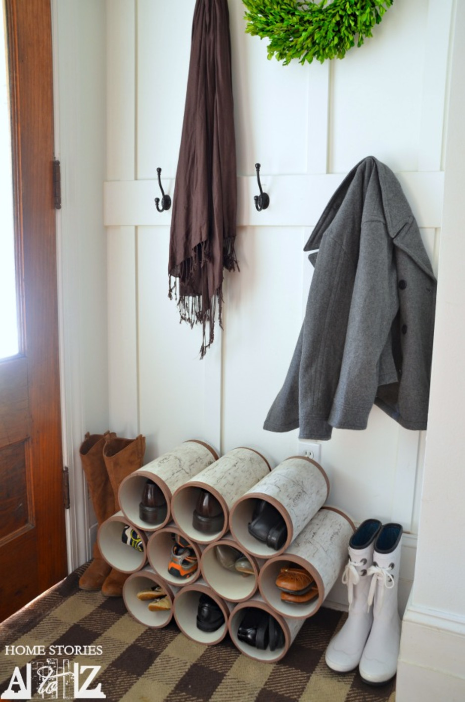 organize shoes with pvc pipes