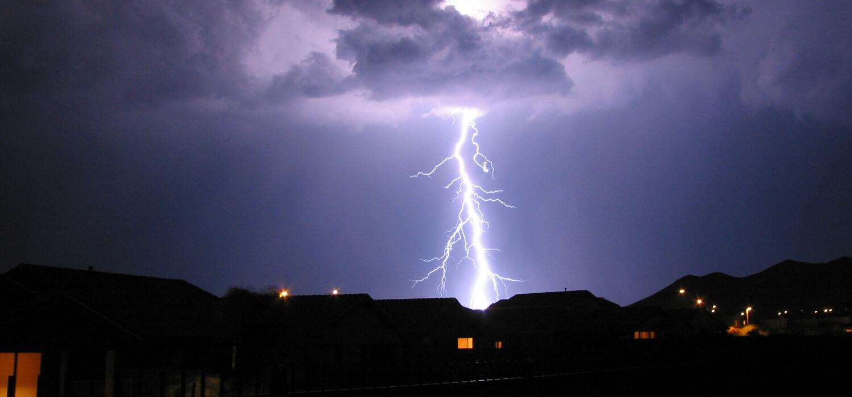 lightning striking neighborhood