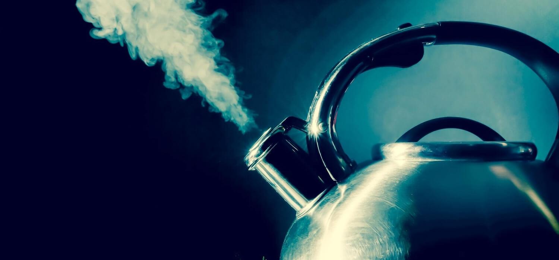 tea kettle releasing steam like PRV valve
