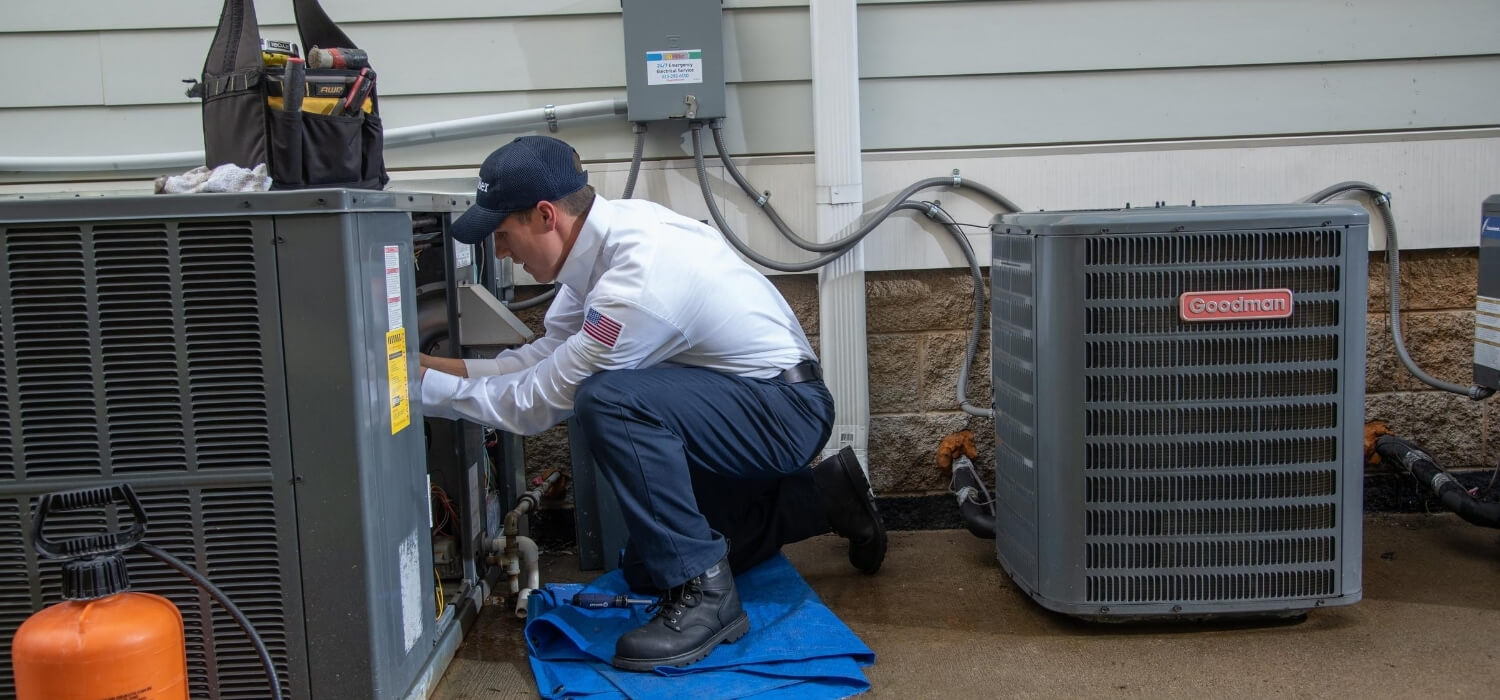 technician performing ac tune-up