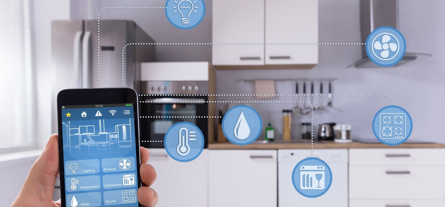 smart home on phone app showing smart home services