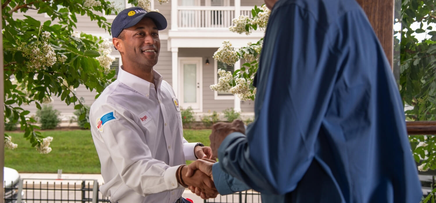 Plumber Greeting Customer