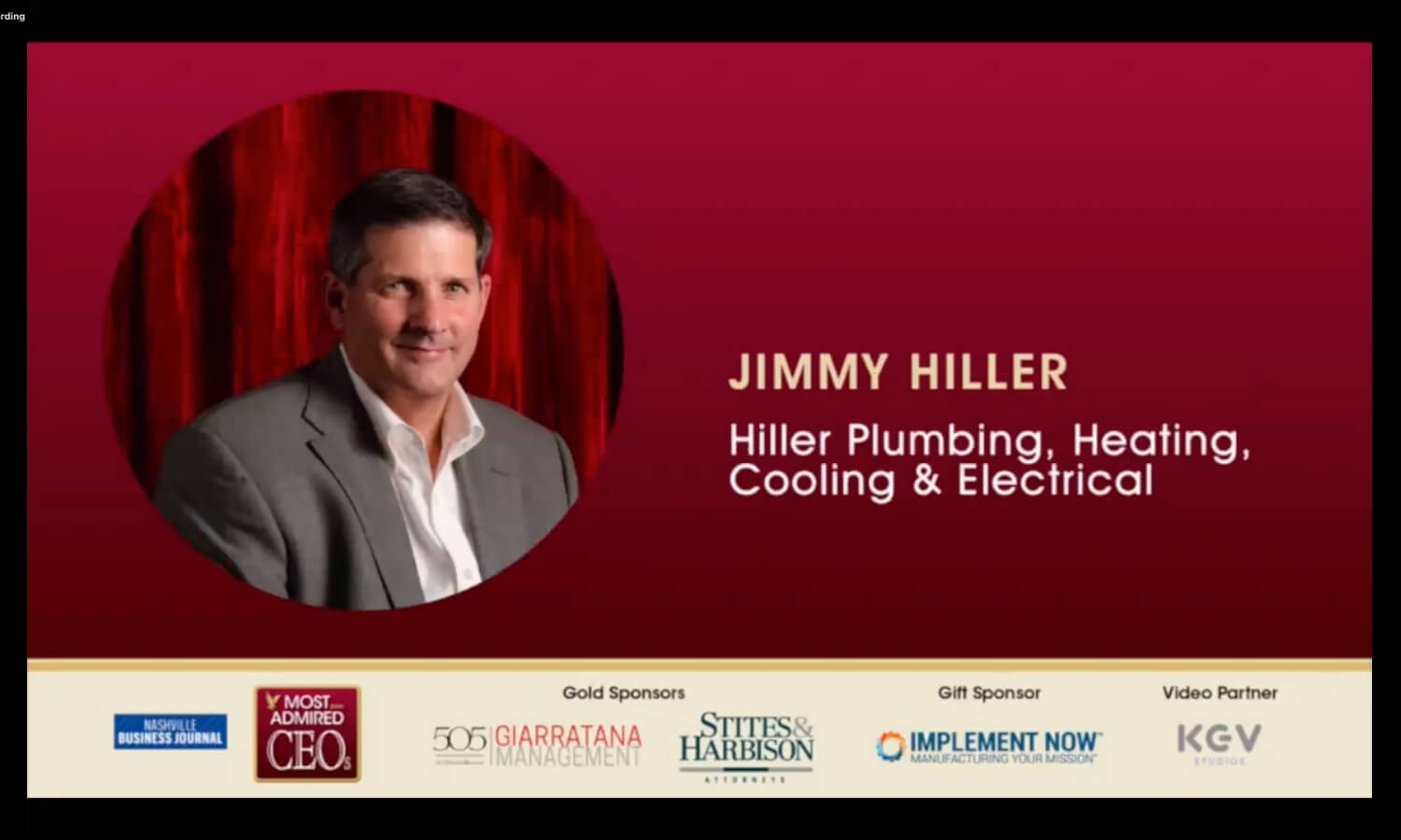 Jimmy Hiller Winning Most Admirable CEO and their Companies Award