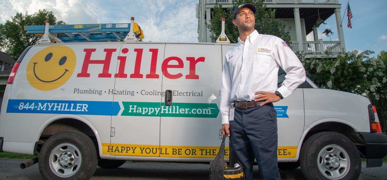 Hiller Electrician In Front Of Van