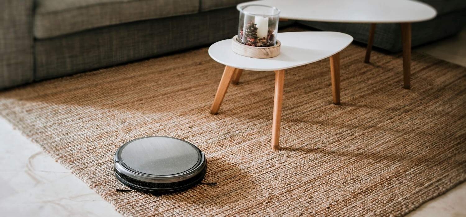 Robot Vacuum Cleaning Living Room Carpet