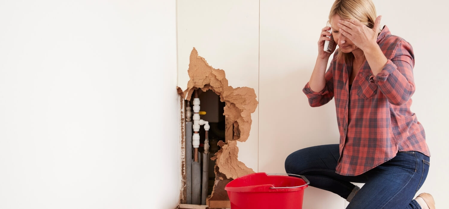 Homeowner Cleaning Water from a Burst Water Pipe Needs Emergency Plumber