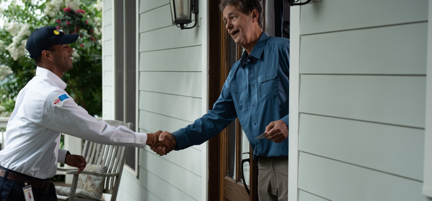 Homeowner Greeting Electrician