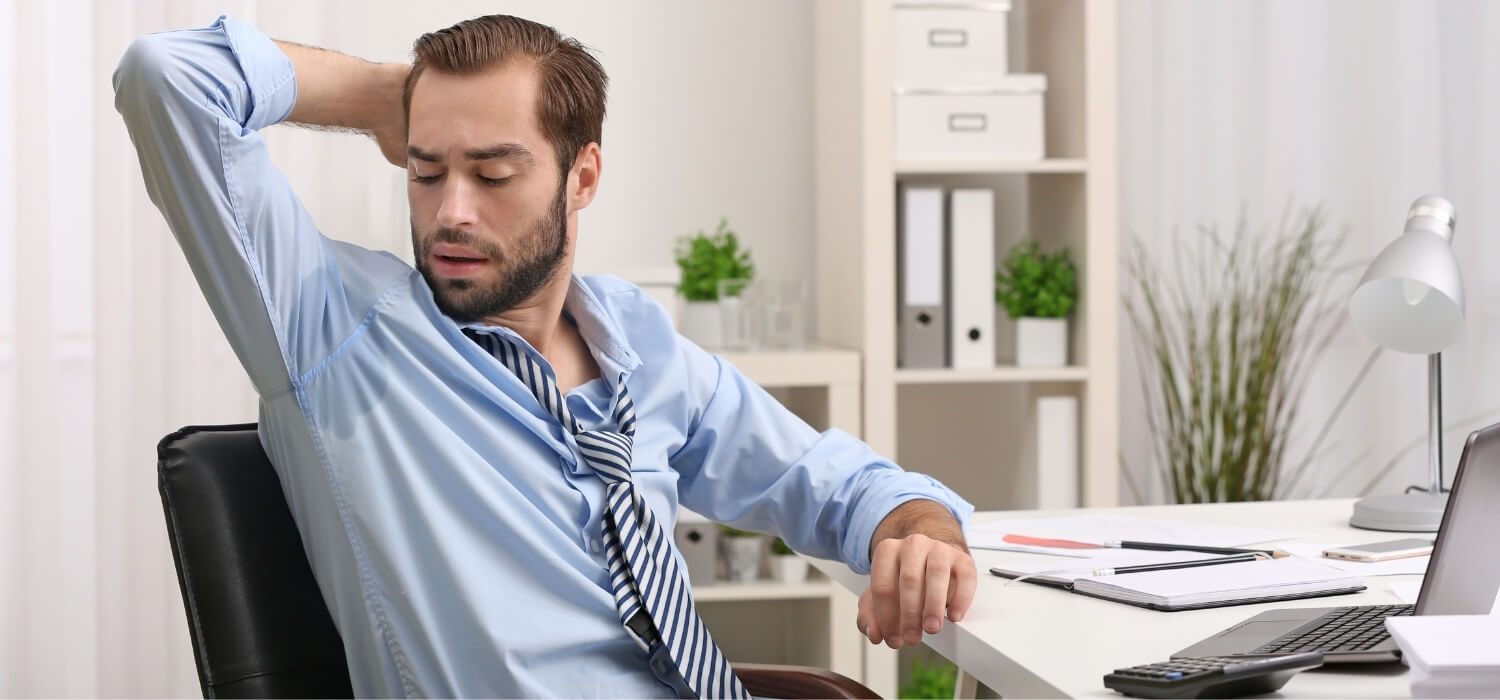 Remote Worker Sweating in Home